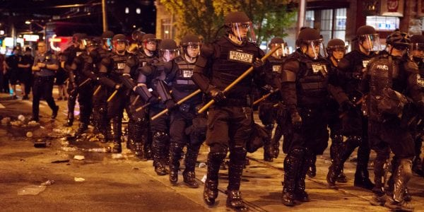 Police riot gear in Seattle